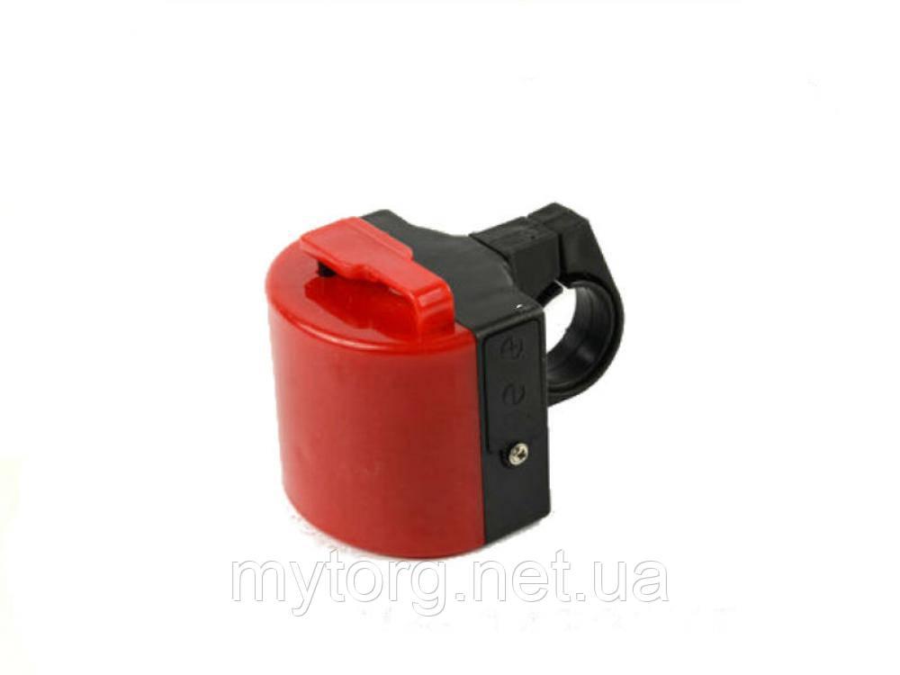 Велосипедный электронный звонок.  Красный, фото 1