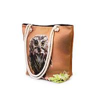 Сумка  женская текстильная Френди фотопринт совушка