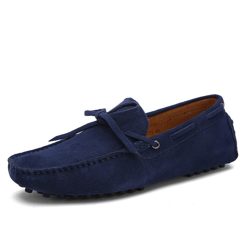 Мокасины замшевые мужские синие
