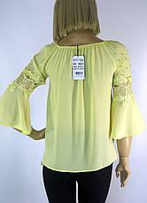 Літня легенька блузка з рукавами воланами і кружевом, фото 3