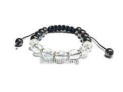 Женский браслет из натуральных камней горный Хрусталь и Гематит