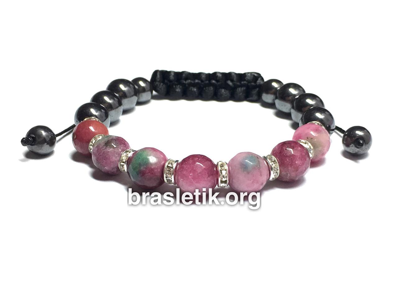 Женский браслет из натуральных камней Турмалин красный и Гематит