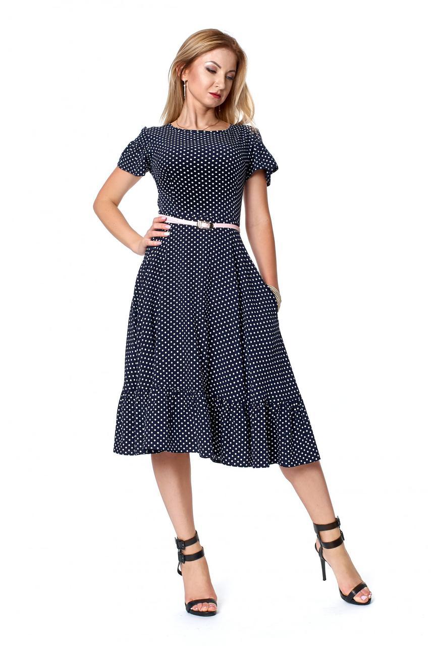 Летнее платье в горох темно-синего цвета 1084