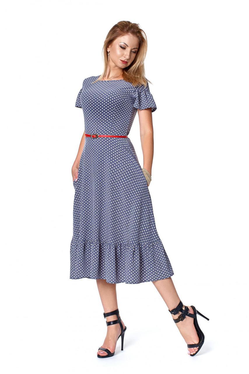 Летнее платье в горох цвет серый 1084