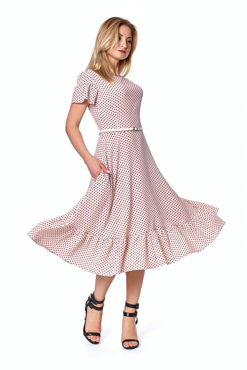 Летнее платье в горох пудрового цвета 1084