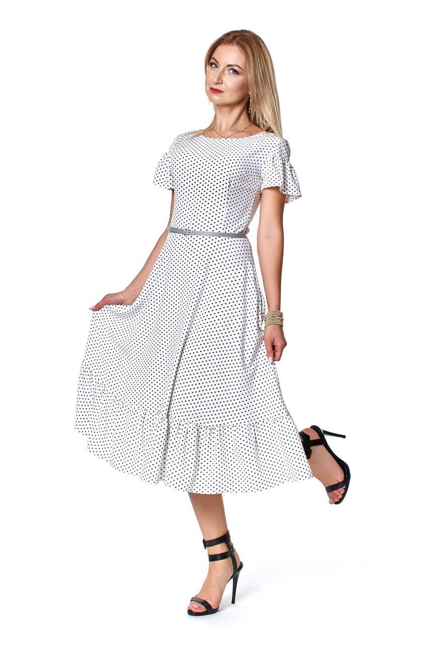 Летнее платье в горох цвет молочный 1084