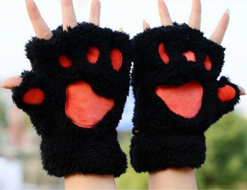 Черные перчатки лапки кошки