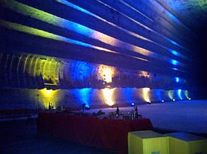 Соляные шахты, г. Соледар. 18 LED голов, основное освещение отключено