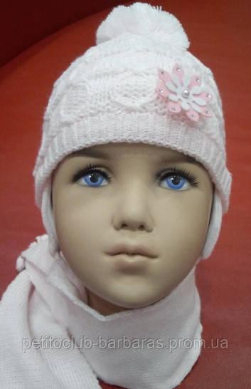 Комплект зимний: шапка, шарф и варежки