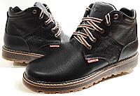 Кожаные мужские ботинки Levis black