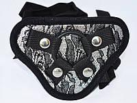 Пояс с 3 резиновыми кольцами для фаллосов разного диаметра  Черный с серебром
