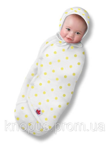 "Пеленка-кокон на липучке  ""Крепкий сон 3"" Summer "" Eko-Cotton"", белая в желтый горох, Ontario Baby"