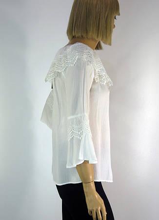 Літня легенька  блузка з рукавами воланами і кружевом, фото 2
