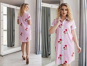 Платье рубашка в полоску сердечки, фото 2