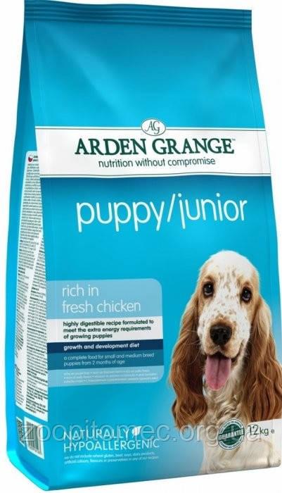 Arden Grange (Арден Грендж ) Puppy Junior Корм для щенков и молодых собак юниоров курица с рисом, 2 кг