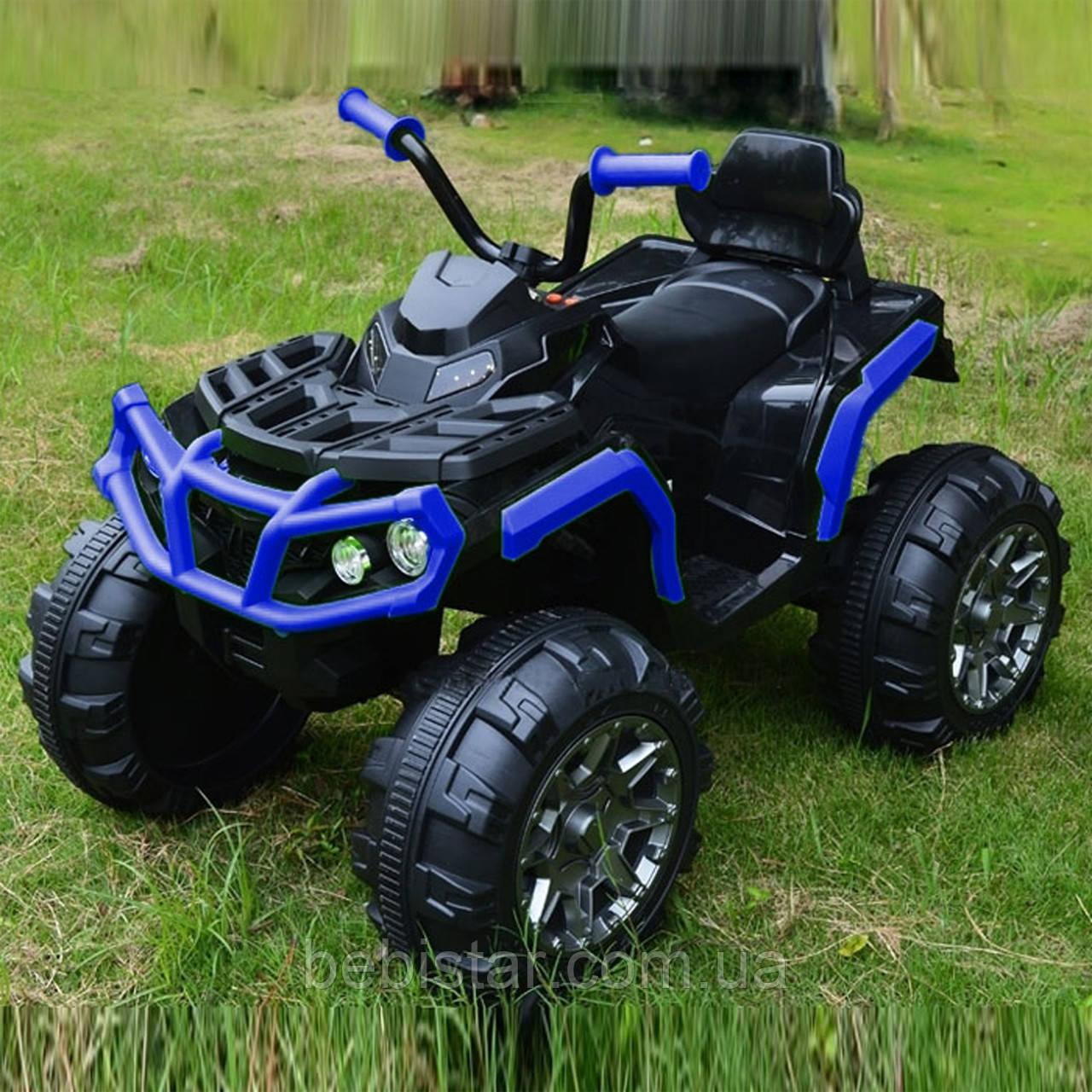 Детский электромобиль-квадроцикл аккумуляторный синий с двумя моторами и MP3 размер 106х68х50см от 3 до 8 лет