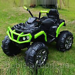 Детский электромобиль-квадроцикл салатовый с двумя моторами и MP3 аккумулятор 12V7AH от 3 до 8 лет