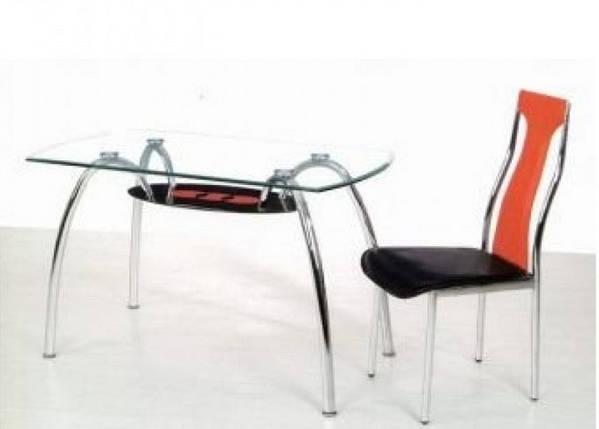 Стол обеденный С-32 (TB156) Хром закалённое стекло, фото 2