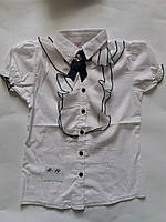 Блузка для девочки 10-14 лет белого цвета с жабо оптом