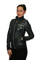 Куртка кожаная весенне-осенняя  (темно-серого цвета), фото 1