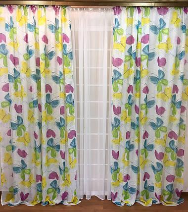 """Шторный набор """"Бабочки"""", декорат. шторы + тюль, фото 2"""