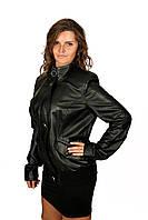 Куртка женская кожаная весенне-осенняя, цвет - черный, фото 1