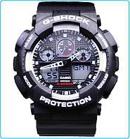 Наручные часы G-Shock GA-100A-7A черные мужские наручные часы с белыми вставками G shock (джи шок) РЕПЛИКА