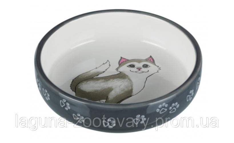 Миска для кота 300мл/15см керамическая для пород с коротким носом