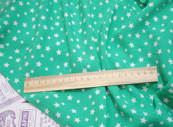 Ткань штапель принт звезды на бирюзовом, фото 2