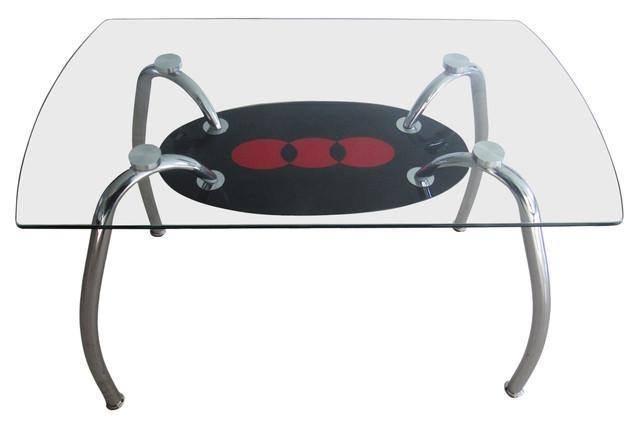Стол обеденный С-32 (TB156) Хром закалённое стекло (1100х650х750 см.) красный с чёрным.
