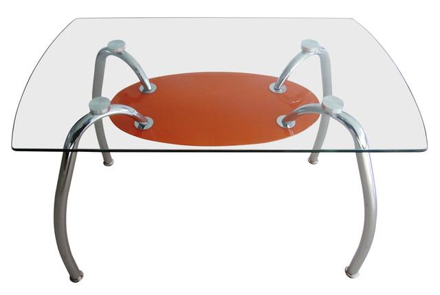 Стол обеденный С-32 (TB156) Хром закалённое стекло (1100х650х750 см.) оранжевый.