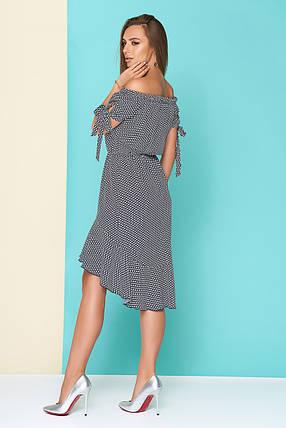 Летнее платье асимметричное полуприталенное талия на резинке короткий рукав принт, фото 2