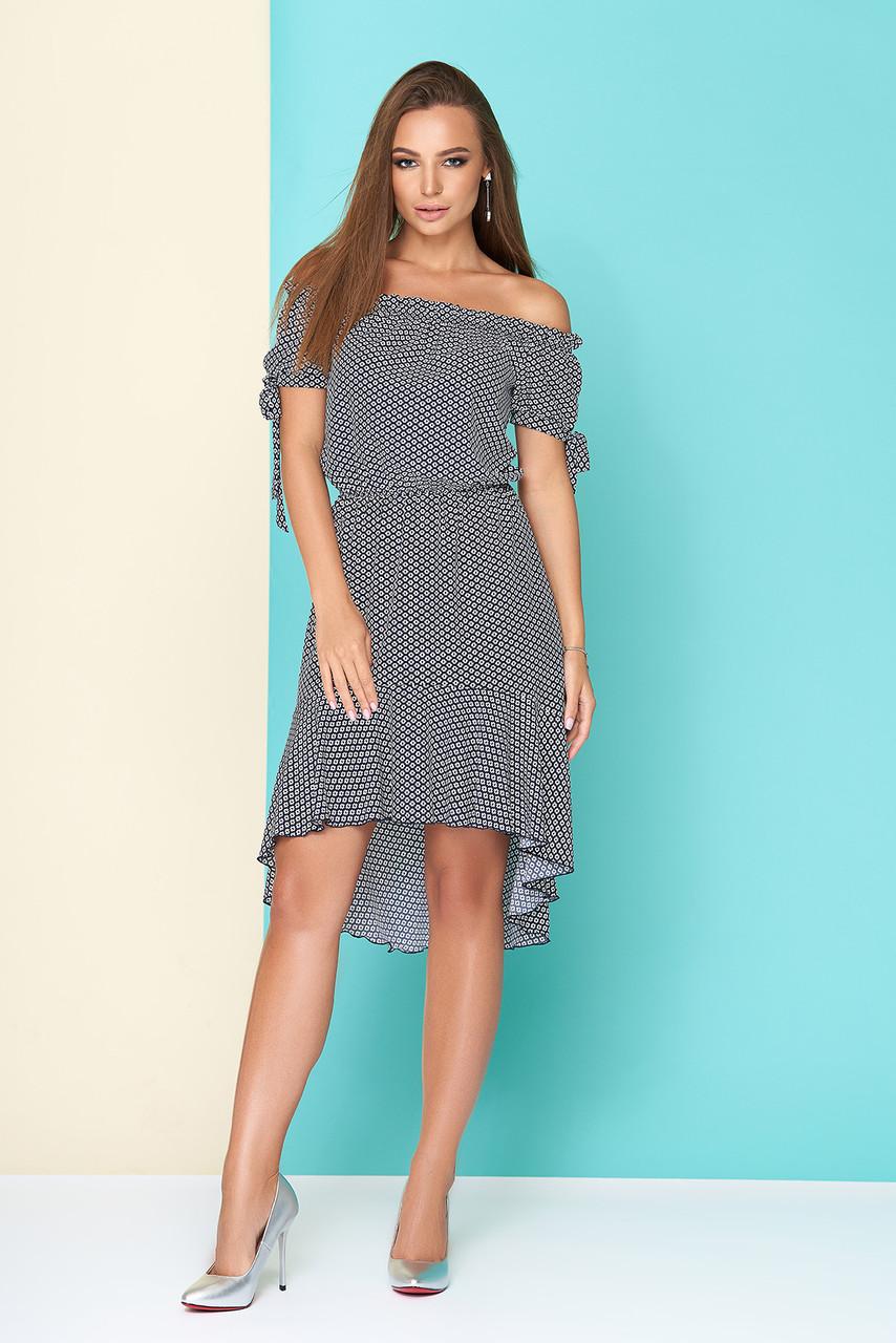 Летнее платье асимметричное полуприталенное талия на резинке короткий рукав принт