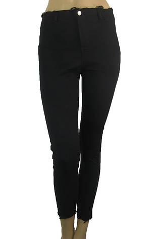 Жіночі чорні джинси з високою талією і необробленим поясом, фото 2