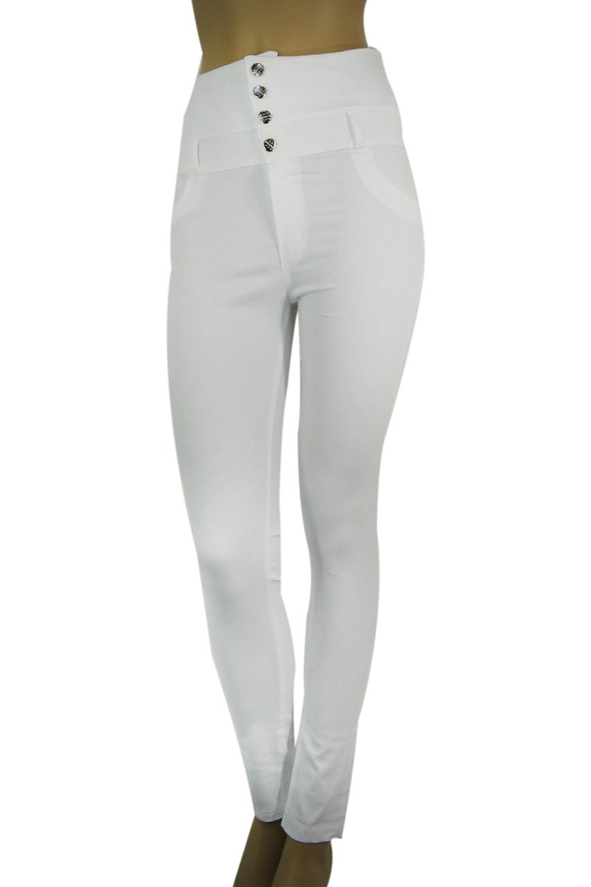 Жіночі білі джинси з високою талією