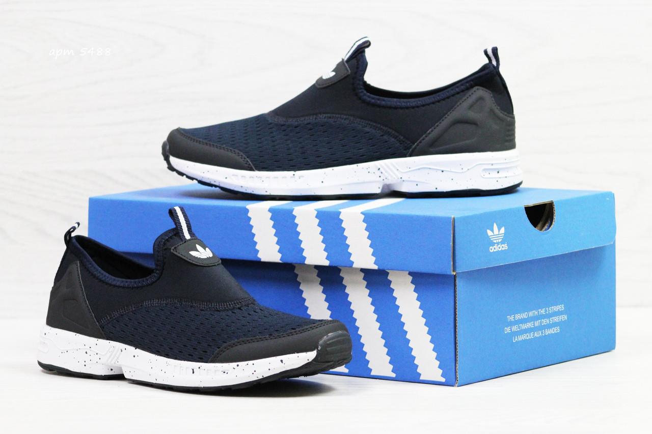 Мужские кроссовки Adidas,сетка,темно синие с белым