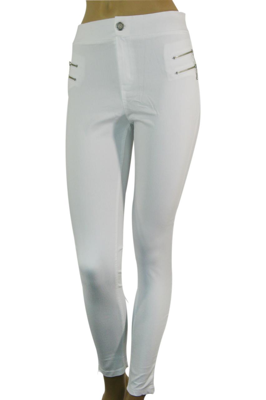 Жіночі білі джинси скіні з високою талією