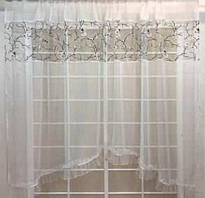 "Тюль арка ""Зефир"", Сакура белая (кухонные шторы), фото 2"
