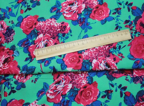Ткань штапель принт цветы на бирюзовом, фото 2