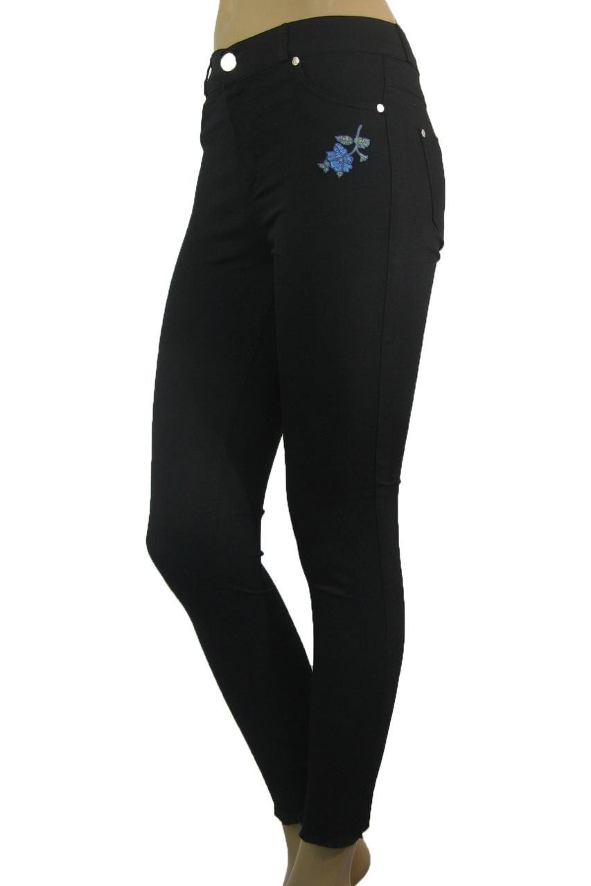 Жіночі літні чорні джинси скіні з  вишивкою
