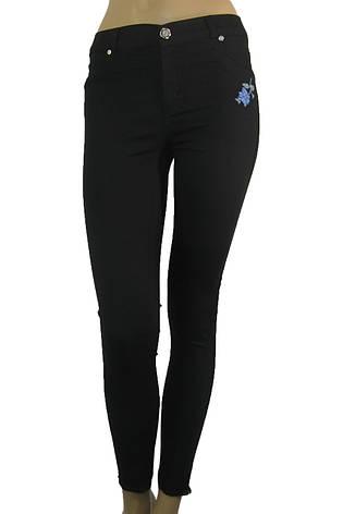 Жіночі літні чорні джинси скіні з  вишивкою, фото 2