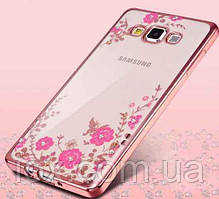 Розовый чехол с камушками Swarovski для Samsung Galaxy J3 (2016)