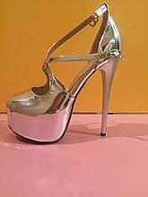 Стальные лаковые босоножки на высоком каблуке , копия