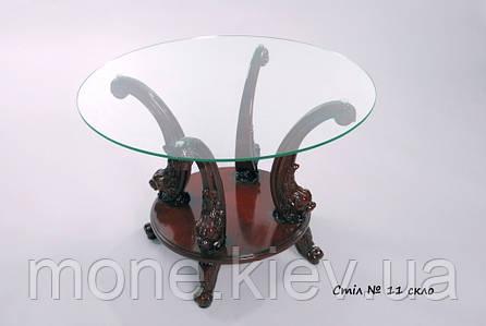 Журнальный столик со стекляной столешницей и резными ножками №12, фото 2