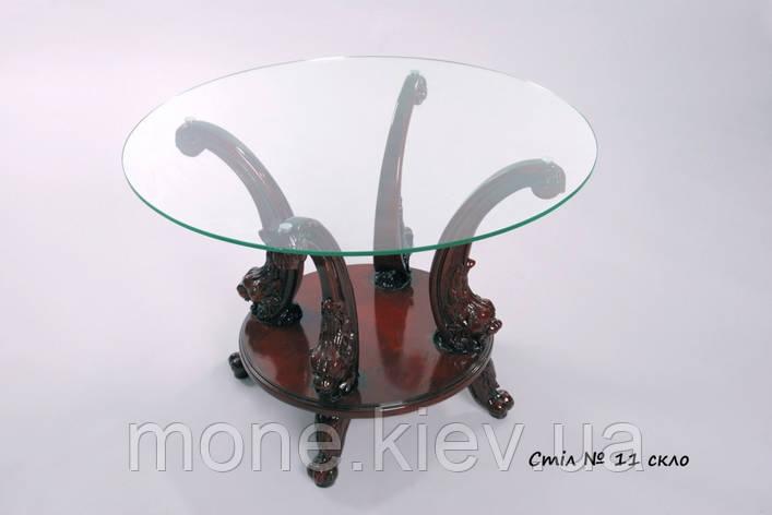 Журнальный столик со стекляной столешницей и резными ножками №1, фото 2