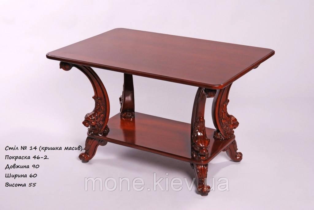 Прямоугольный чайный столик с полочкой в стиле барокко №14