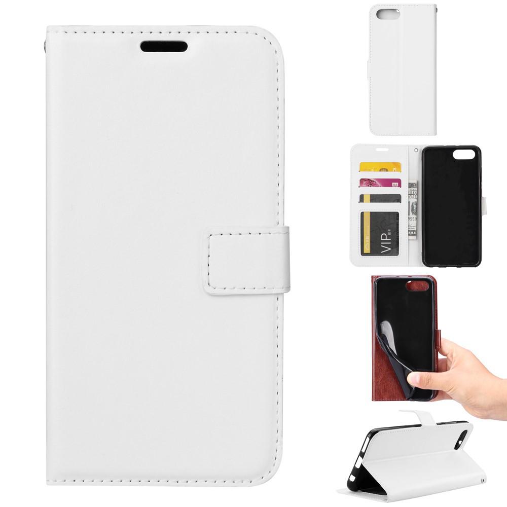 Чехол книжка для Huawei Honor 10 боковой с отсеком для визиток и отверстием под динамик, Гладкая кожа, белый