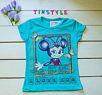 Бирюзовая футболка на девочку 2-3 лет, фото 1