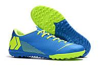 Футбольные сороконожки Nike Mercurial VaporX XII Academy TF Blue/Volt, фото 1