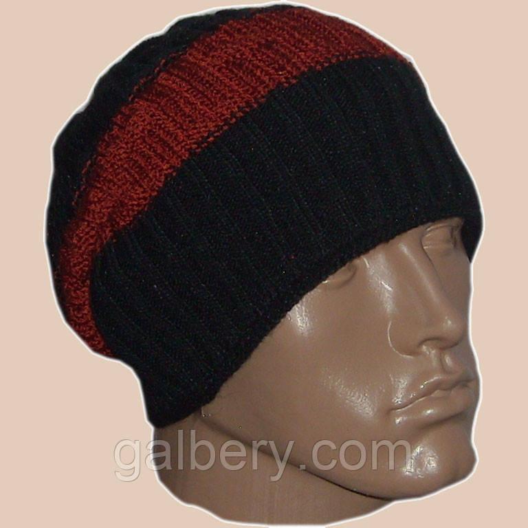 Вязаная мужская шапка-носок (утепленный вариант)